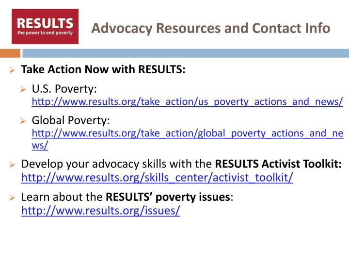 Advocacy Resources and Contact Info