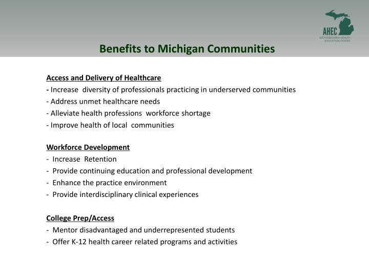 Benefits to Michigan Communities