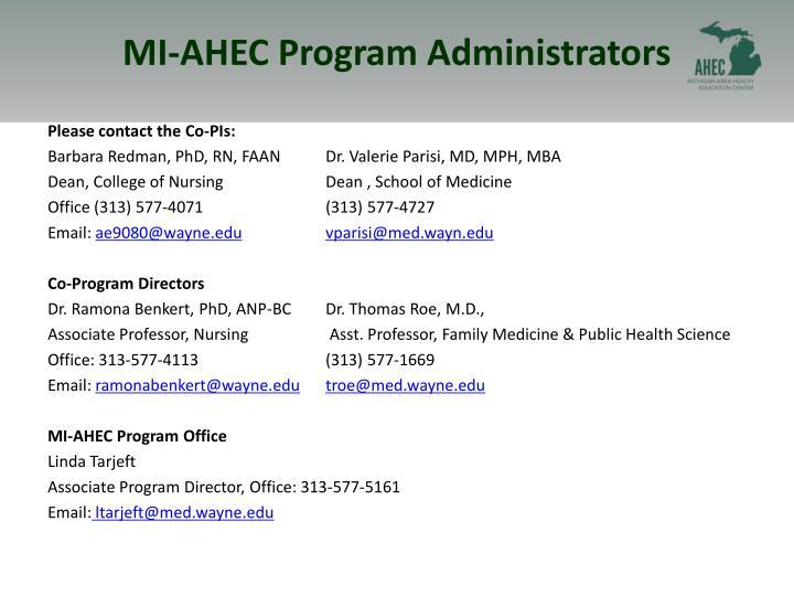 MI-AHEC Program Administrators
