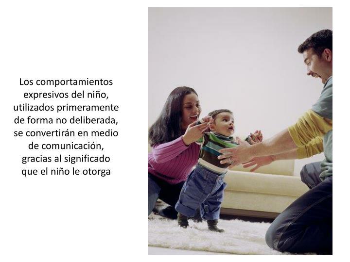 Los comportamientos expresivos del niño, utilizados primeramente de forma no deliberada, se convertirán en medio de comunicación, gracias al significado que el niño le otorga