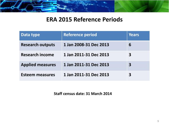 ERA 2015 Reference Periods