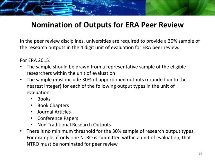 Nomination of Outputs for ERA Peer Review