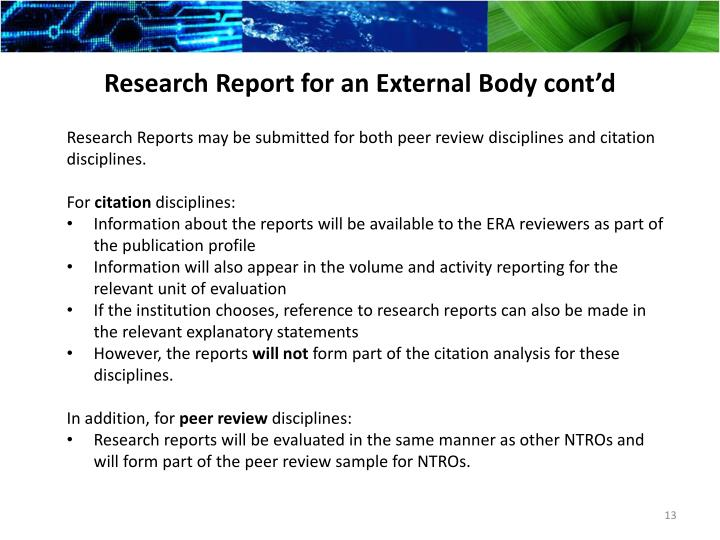 Research Report for an External
