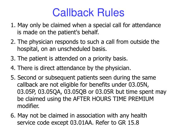 Callback Rules