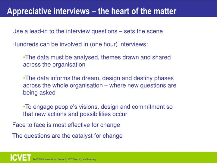 Appreciative interviews – the heart of the matter