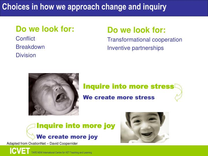 Choices in how we approach change and inquiry