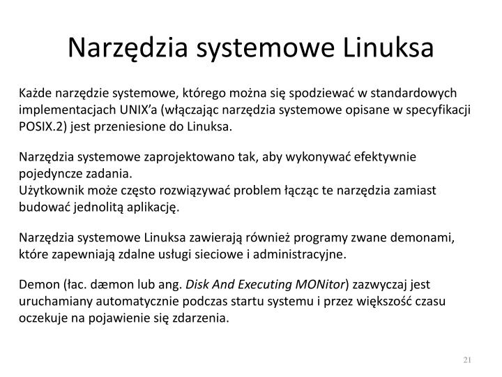 Narzędzia systemowe Linuksa