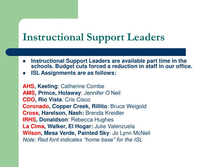 Instructional Support Leaders