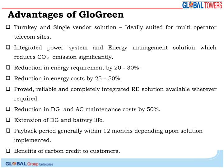 Advantages of GloGreen