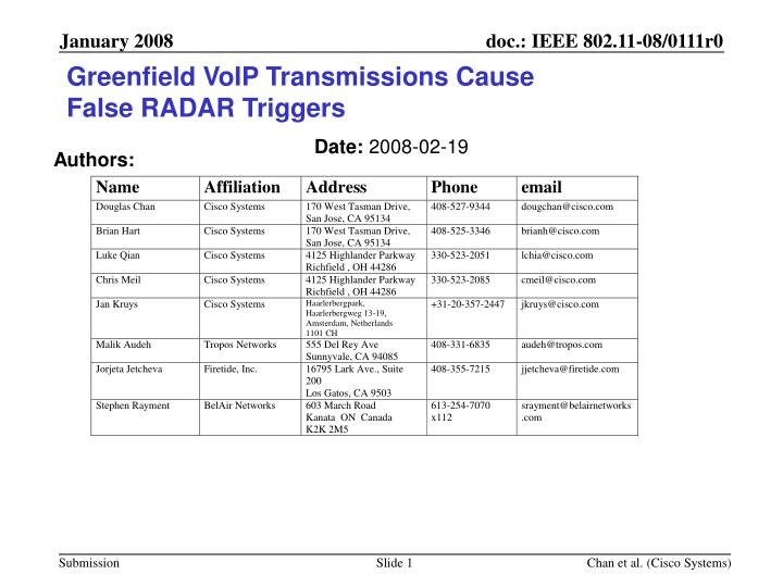 Greenfield voip transmissions cause false radar triggers