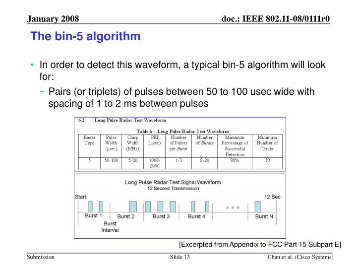 The bin-5 algorithm