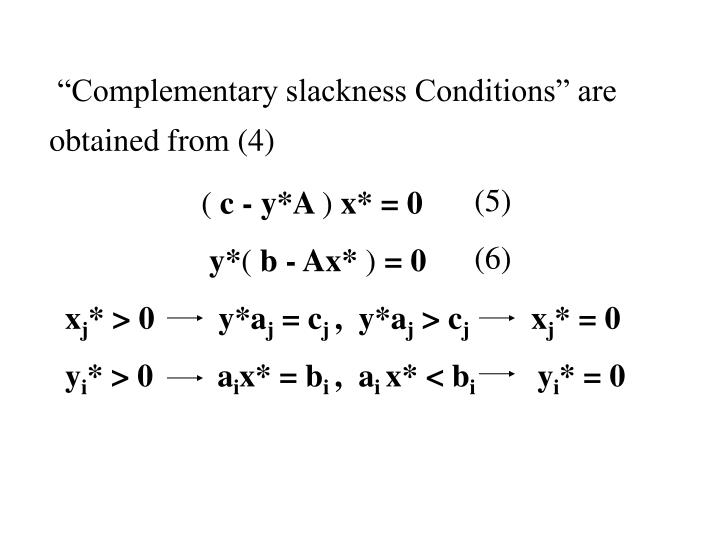 """Complementary slackness Conditions"" are obtained from (4)"