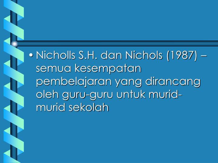Nicholls S.H. dan Nichols (1987) – semua kesempatan pembelajaran yang dirancang oleh guru-guru untuk murid-murid sekolah