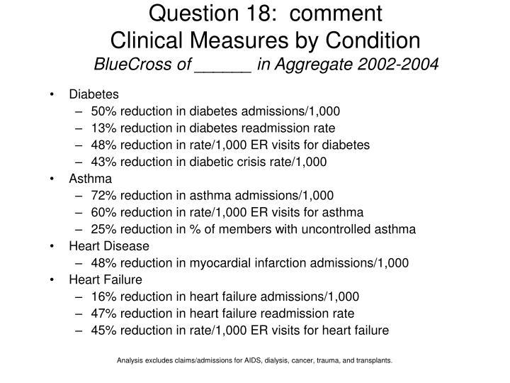 Question 18:  comment