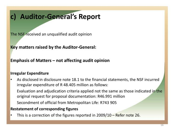 Auditor-General's Report