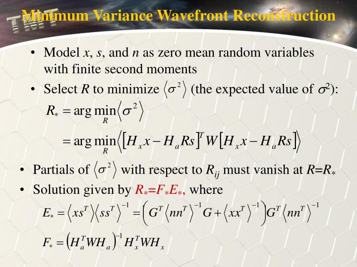 Minimum Variance Wavefront Reconstruction