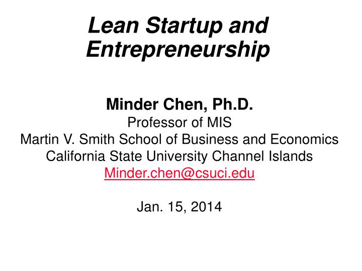 Lean startup and entrepreneurship
