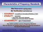 characteristics of frequency standards