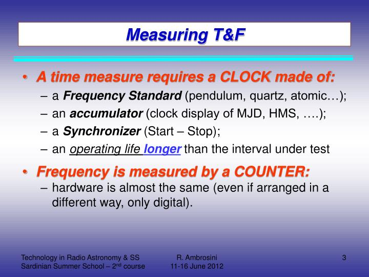 Measuring T&F