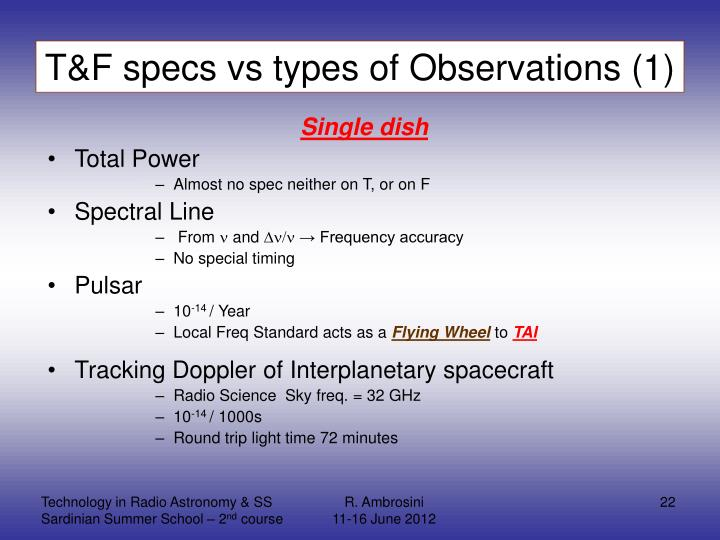 T&F specs vs types of Observations (1)