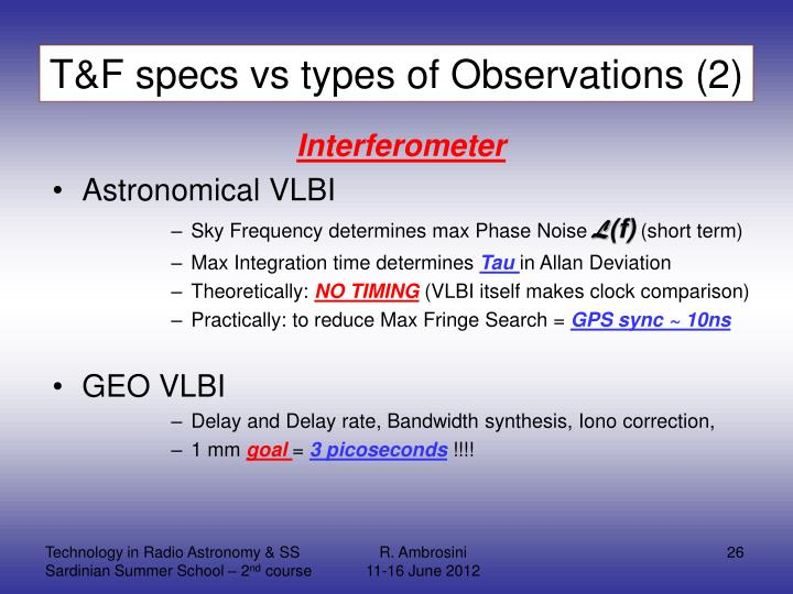 T&F specs vs types of Observations (2)