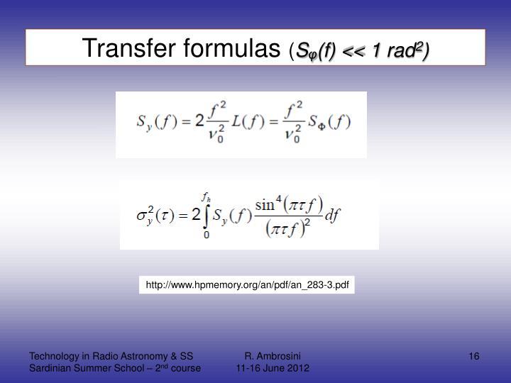 Transfer formulas