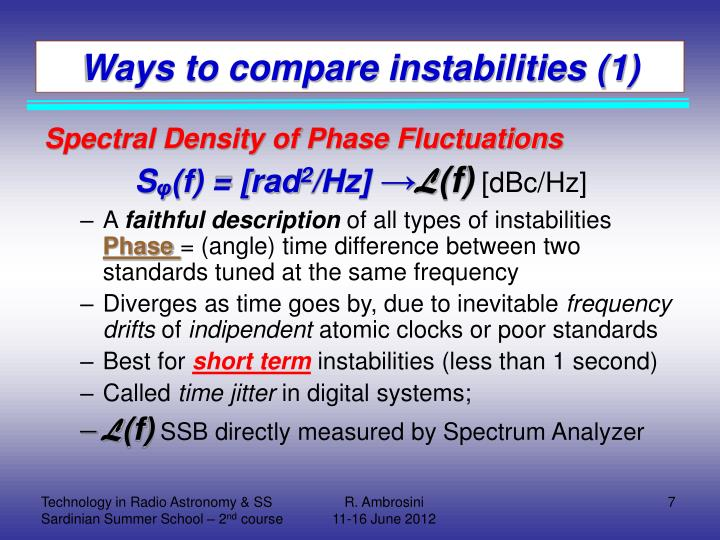 Ways to compare instabilities (1)