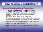 ways to compare instabilities 1