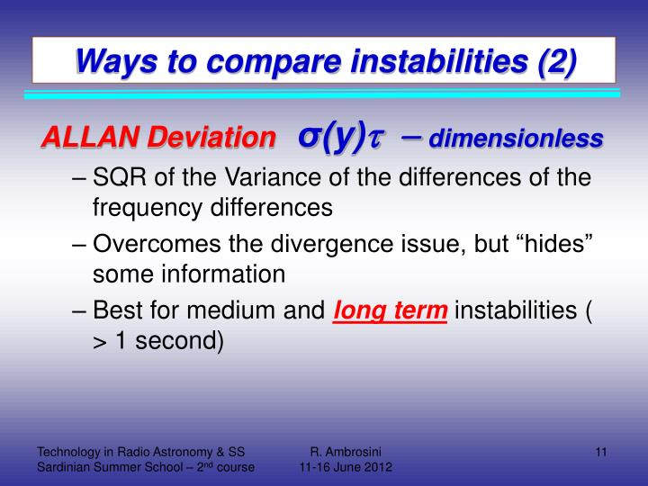 Ways to compare instabilities (2)