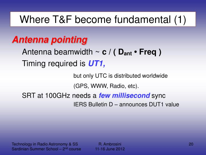 Where T&F become fundamental (1)