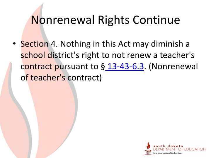 Nonrenewal Rights Continue