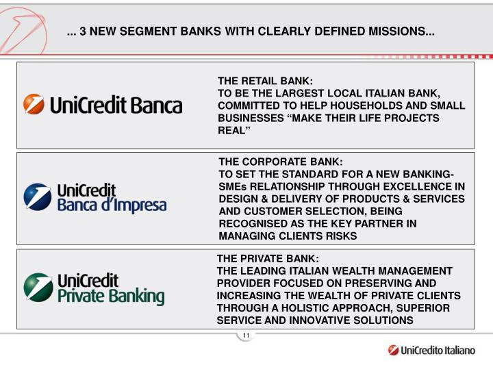 ... 3 NEW SEGMENT BANKS WITH CLEARLY DEFINED MISSIONS...