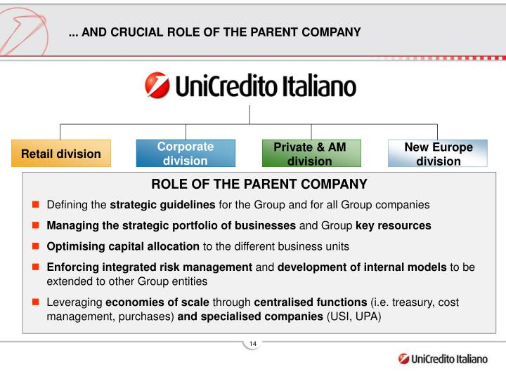 ... AND CRUCIAL ROLE OF THE PARENT COMPANY