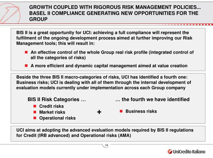 GROWTH COUPLED WITH RIGOROUS RISK MANAGEMENT POLICIES... BASEL II COMPLIANCE GENERATING NEW OPPORTUNITIES FOR THE GROUP