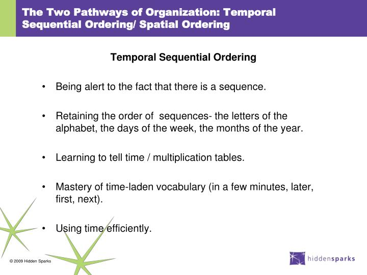The Two Pathways of Organization: Temporal Sequential Ordering/ Spatial Ordering