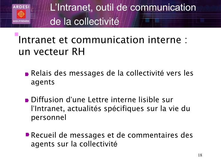 L'Intranet, outil de communication