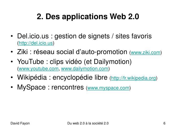 2. Des applications Web 2.0
