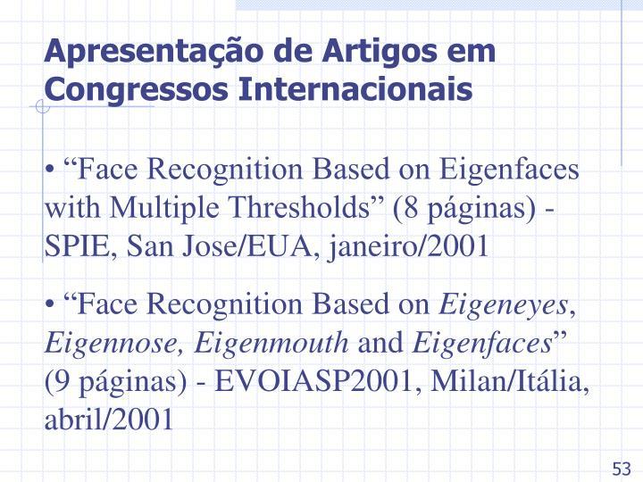 Apresentação de Artigos em Congressos Internacionais