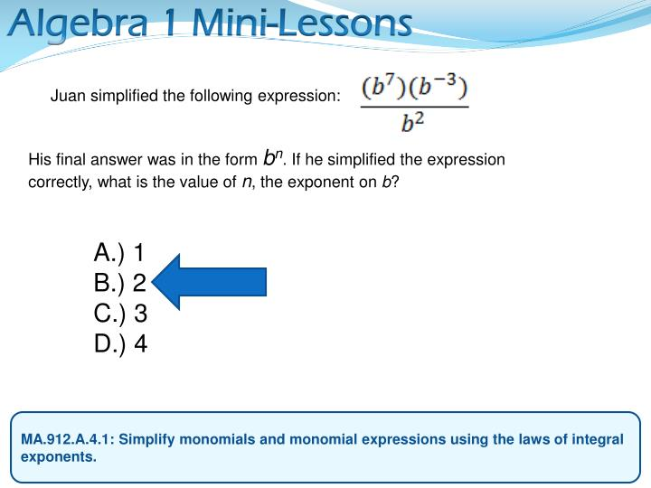 Algebra 1 Mini-Lessons