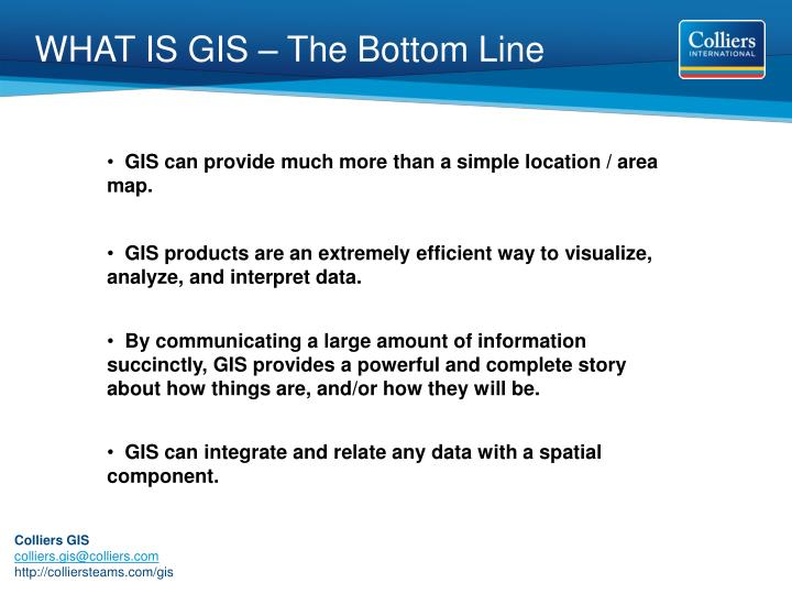 WHAT IS GIS – The Bottom Line