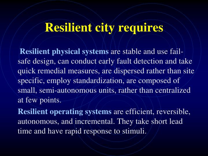 Resilient city requires