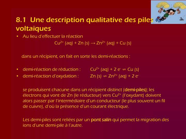 8.1  Une description qualitative des piles