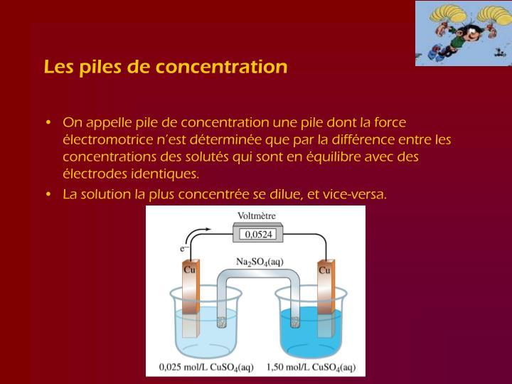 Les piles de concentration