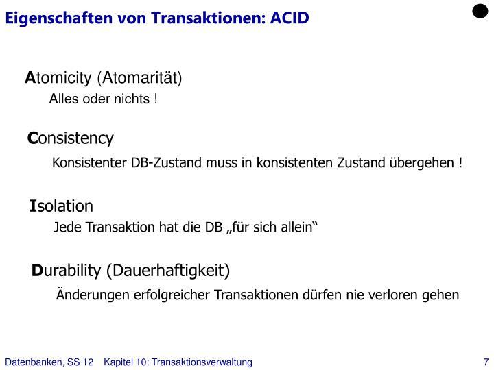 Eigenschaften von Transaktionen: ACID