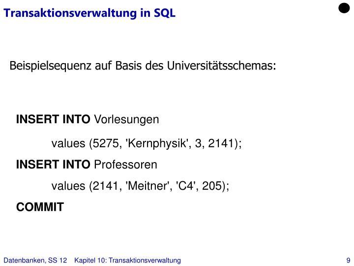 Transaktionsverwaltung in SQL