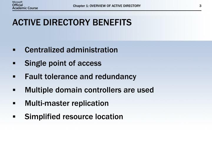 Active directory benefits