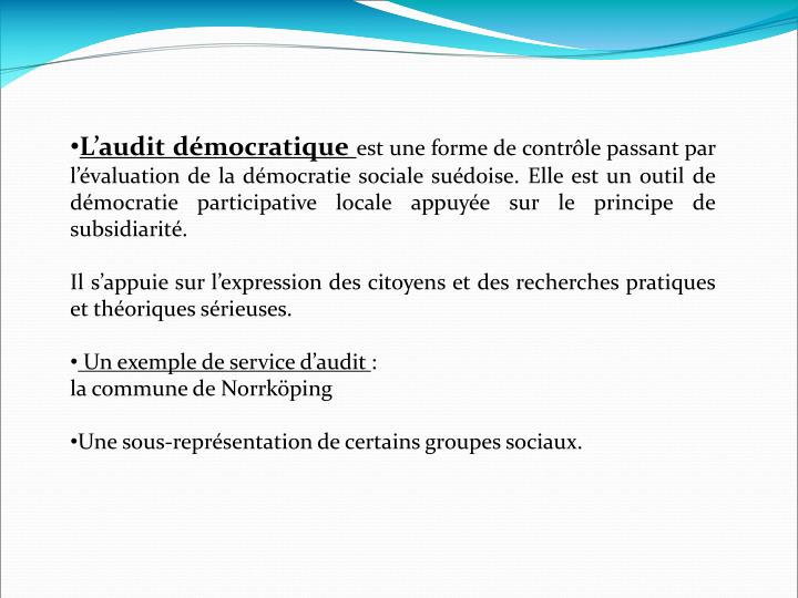 L'audit démocratique
