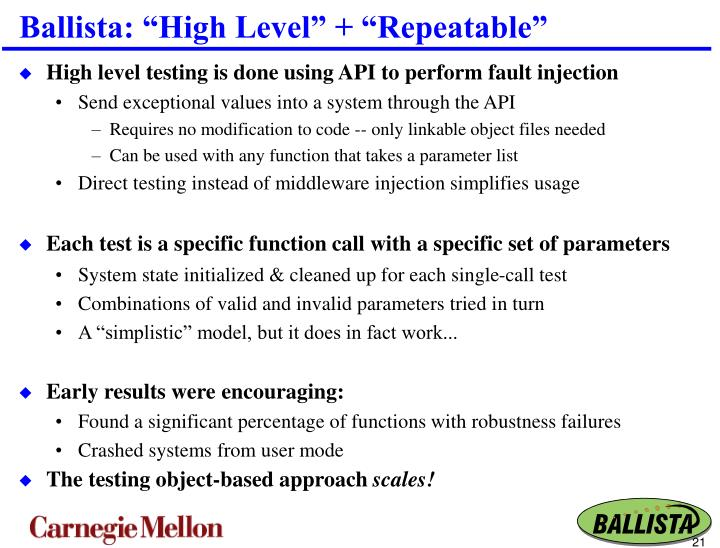 "Ballista: ""High Level"" + ""Repeatable"""