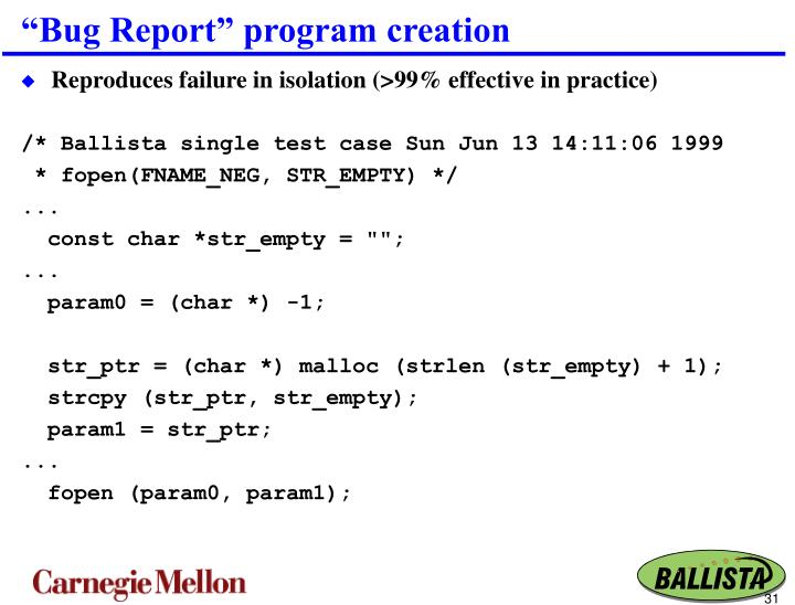 """Bug Report"" program creation"