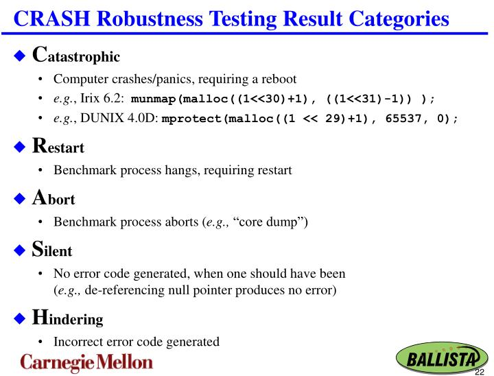 CRASH Robustness Testing Result Categories
